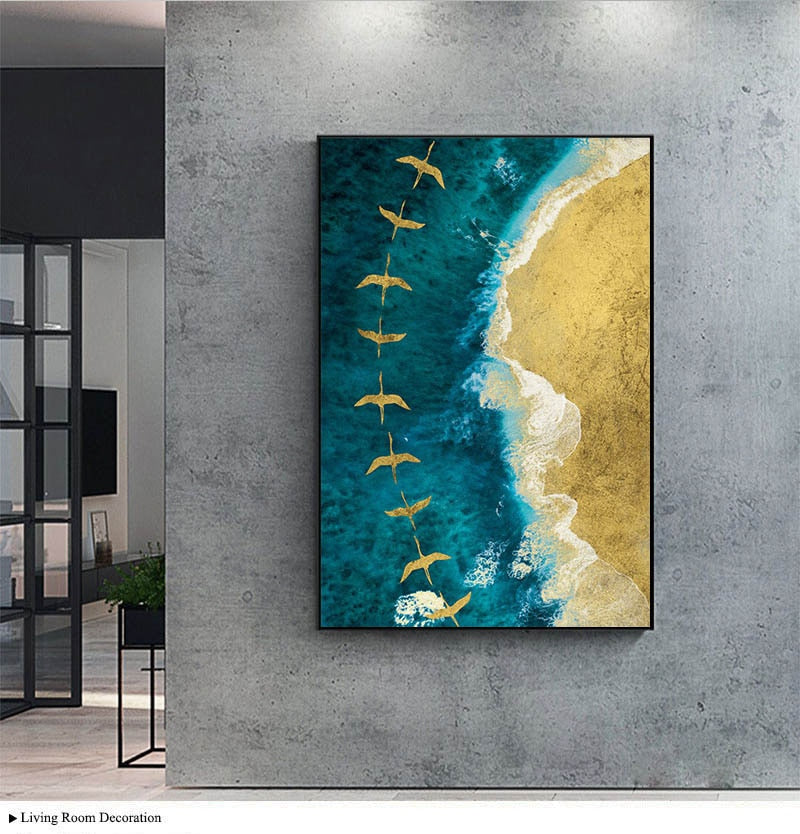 Ocean Waves Golden Birds wall art canvas poster