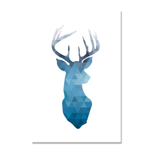 Abstract Deer Wall Art canvas poster