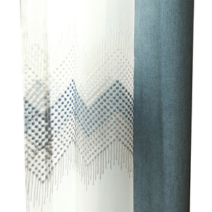 Nordic Simple luxury Embroidery Blue Wave Curtains For living room