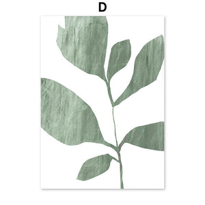 Abstract Leaves & Geometric Figure wall art canvas poster