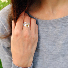 Elegant Gold Silver Bee ring