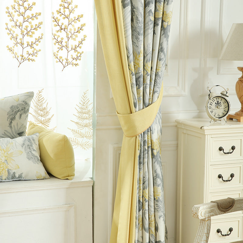 Cotton-Linen exquisite leaves curtains for bedroom