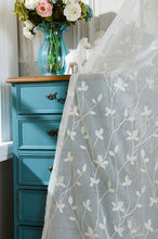Embroidered Curtains Light Blue