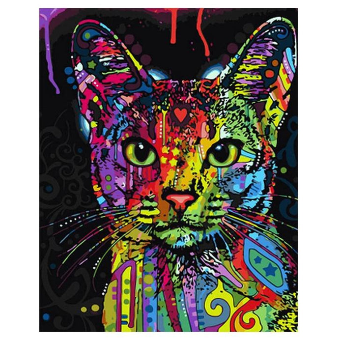 Colorful Cat Painting wall art canvas poster