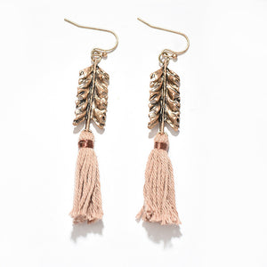 Vintage Leaf Tassel Drop Earrings