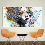 Modern Girl with flowers abstract wall art canvas poster