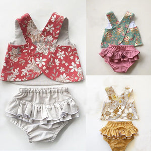 Two-piece Floral Ruffle Set