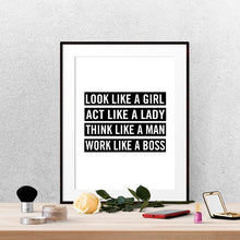 Look like a girl Inspirational quotes typography wall art poster
