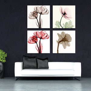 4pcs Modern Abstract flowers Canvas Print for Wall Decor