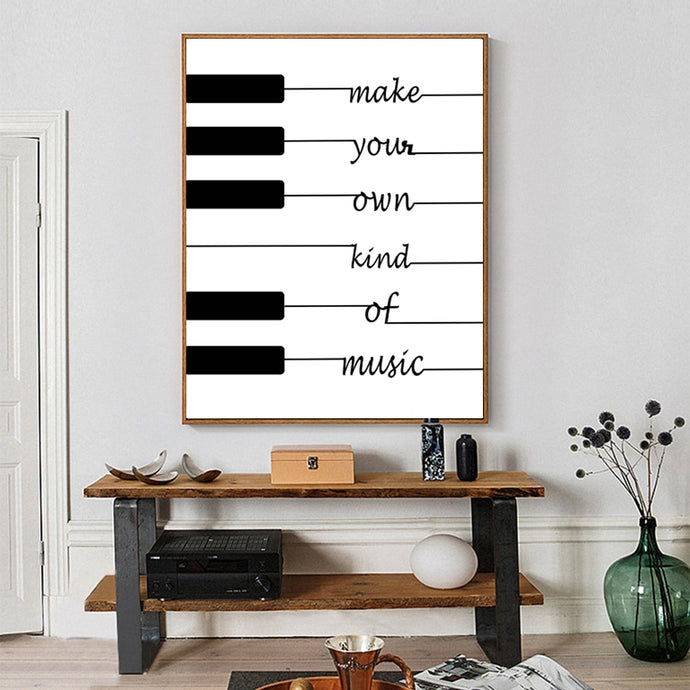 Black and White Piano Keys Inspirational Wall Art