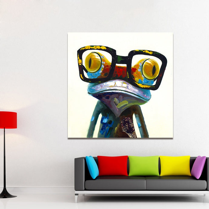 Frog with glasses wall art canvas poster