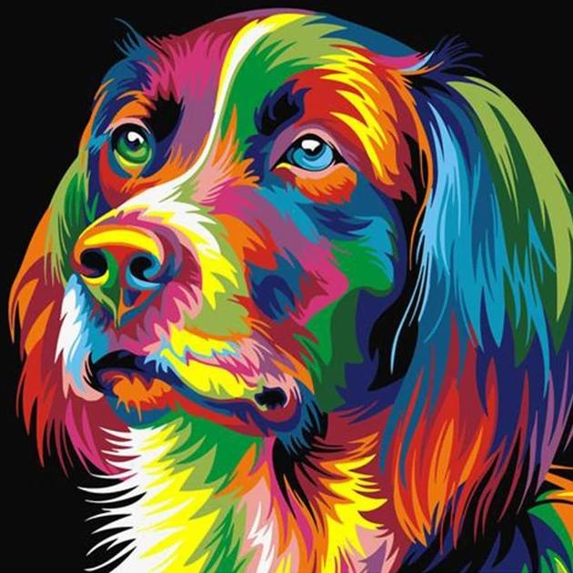 Colorful Dog DIY Painting wall art canvas poster