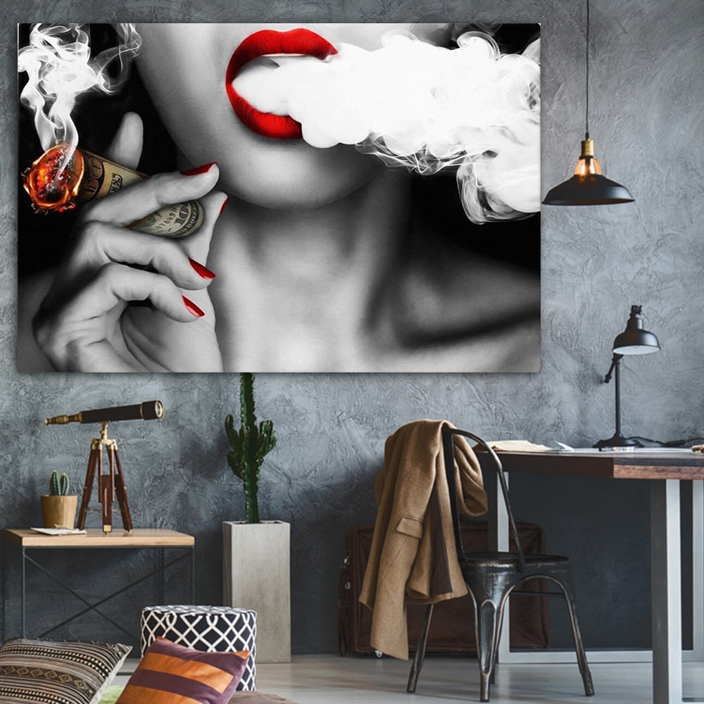 Women Money Smoke Abstract Canvas Wall Art Poster