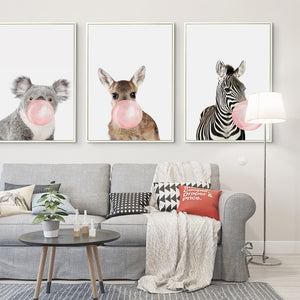 Bubble Chewing Gum Giraffe Zebra Animal Posters Nursery wall art