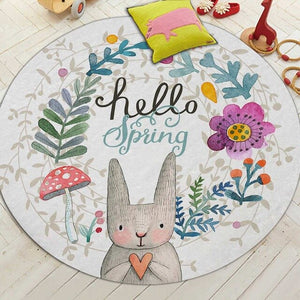 WithloveArchipelago Cartoon Rabbit Printed Round Carpet For Living Room