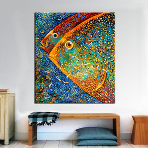 Modern Abstract Fish wall art canvas poster