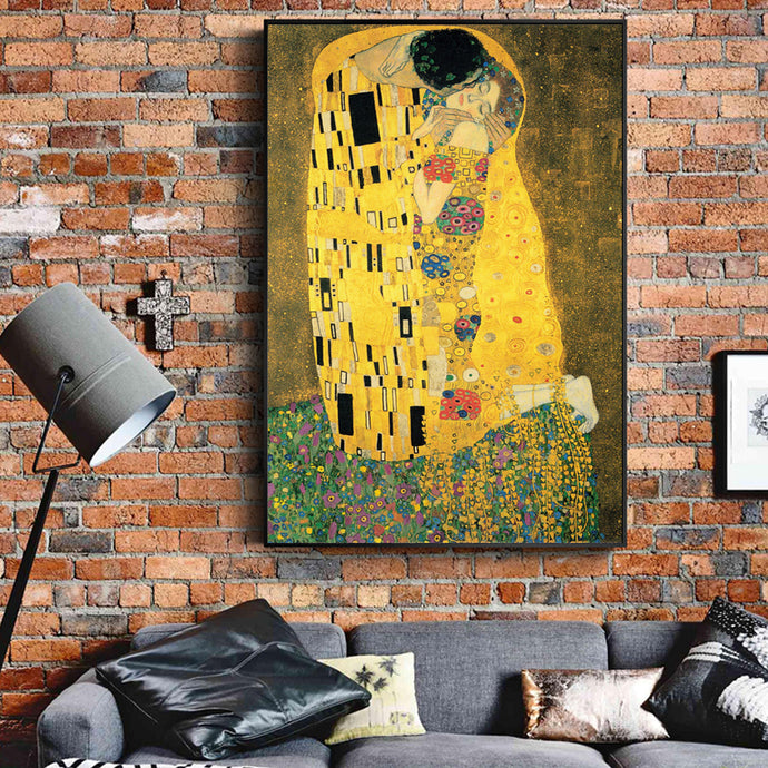 Gustav Klimt Kiss Paintings wall art canvas poster