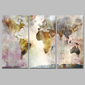 Watercolor World Map wall art canvas poster