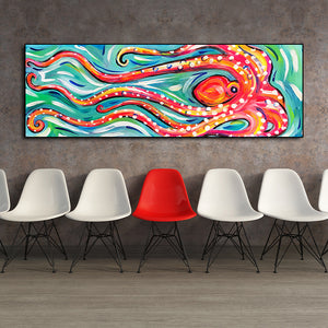Colored Octopus Canvas Wall art print