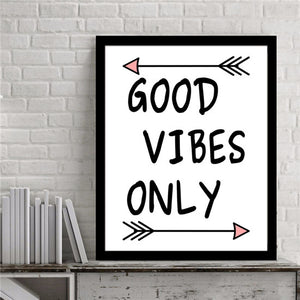 Inspirational Quote Good Vibes only Typography Wall Canvas Poster