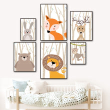 Forest Bird Fox Bear Lion Deer Rabbit Nursery wall art Canvas