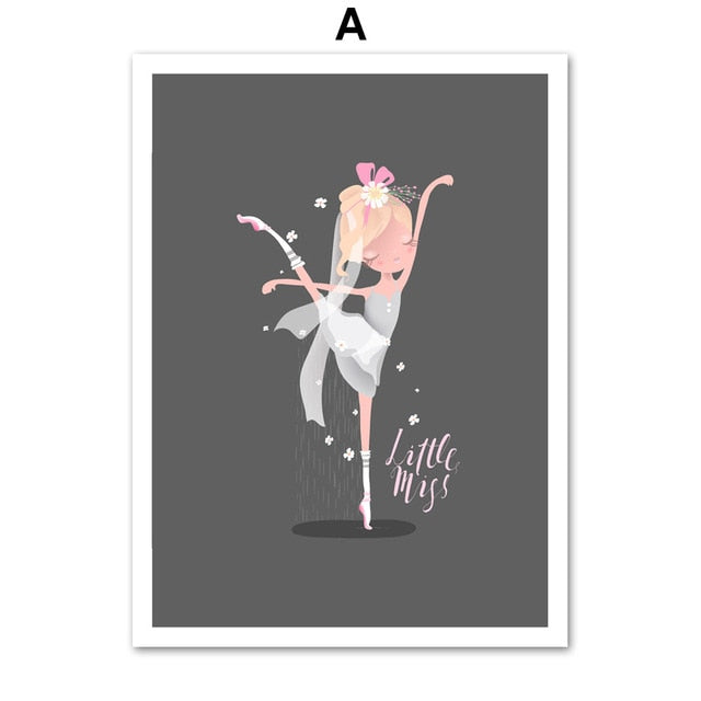 Ballet Dancing Girl princess Nursery Wall Art Canvas Poster