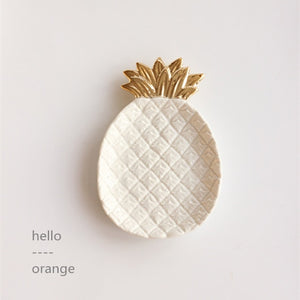 Golden Ceramic Pineapple Jewelry Plate