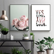 Peony Flower Inspiring Quotes Wall Art