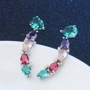 Colorful Cubic Zirconia Stud Earrings