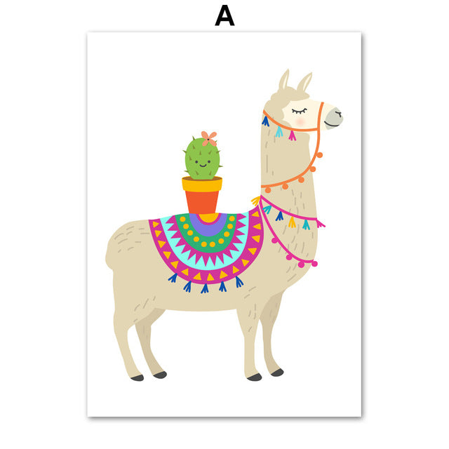 Cartoon Llama Cactus Nursery Wall Art Prints