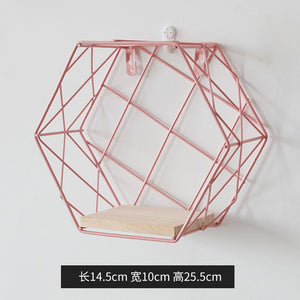 Archi Wood Metal hexagonal wall shelves