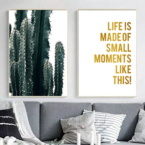 Cactus Plant Gold Inspirational Quotes Wall Art Canvas poster