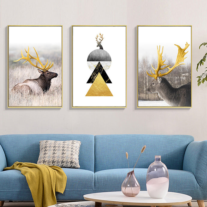 Modern abstract Deer Wall Art Canvas Painting