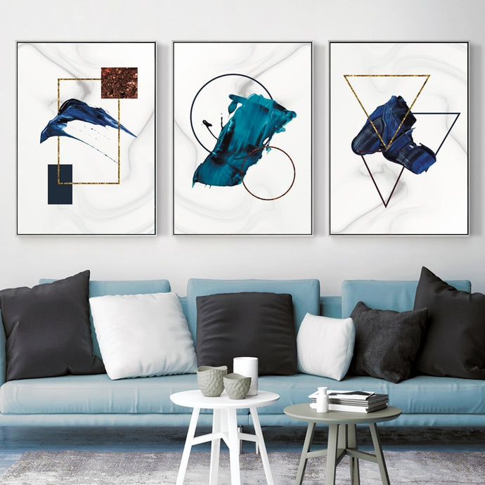 Geometric Abstract Modern Canvas Art Print Poster