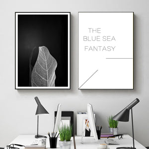 Modern Black White Leaf Pictures Wall Art Canvas