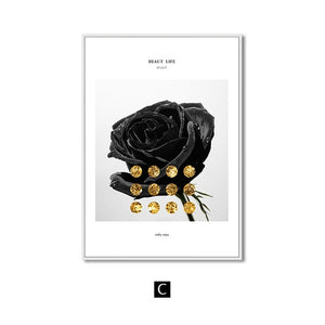 Black White Flower Rose Wall Art Canvas Painting
