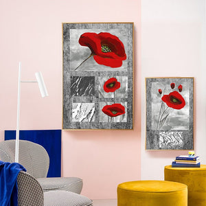 Modern abstract Red flower Canvas Art Wall Painting