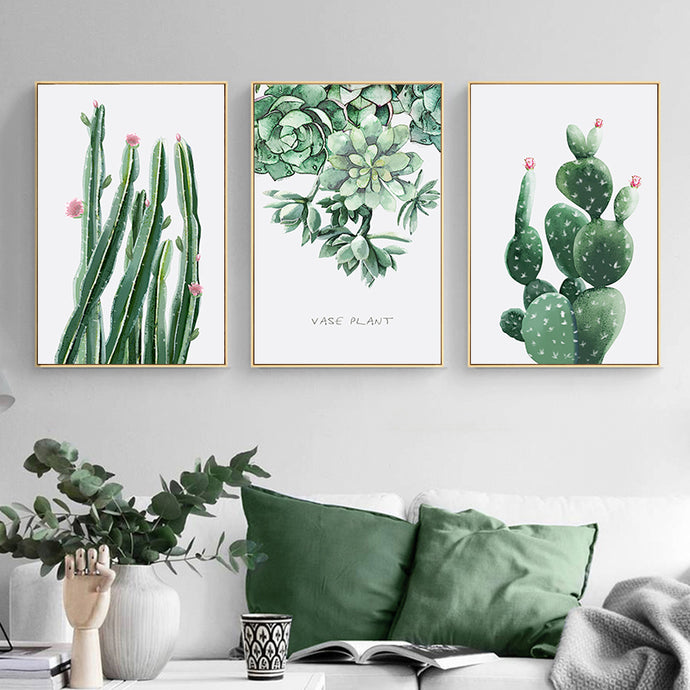 Green Plant Leaf Cactus Modern Canvas Art Print Wall