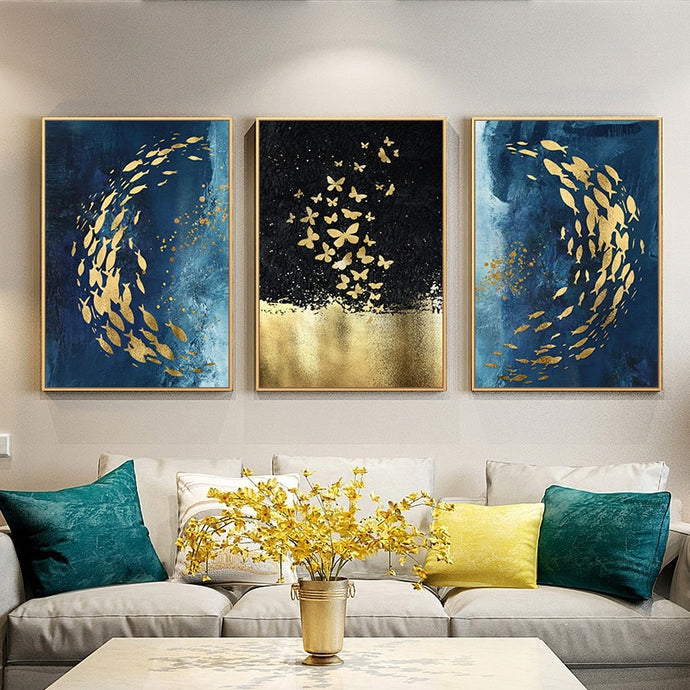 Golden Fish Butterfly Wall Art Abstract Canvas Painting