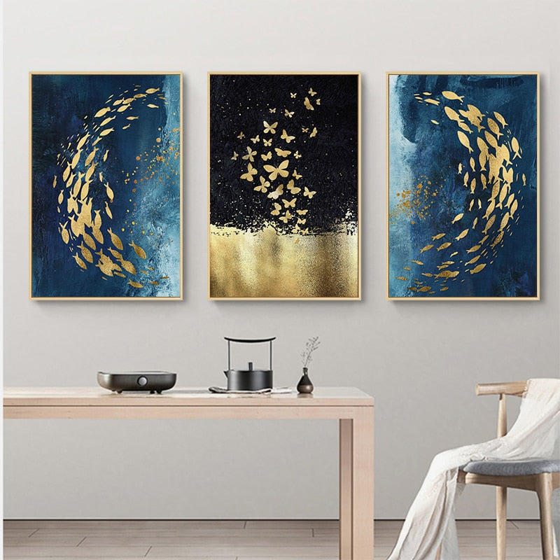 Golden Fish Butterfly Wall Art Abstract Canvas Painting With Love Archipelago