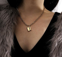 Chain Lock Pendant Choker Necklace withlovearchipelago