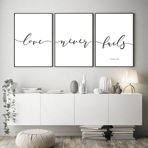 Archi Typography Poster - Love Never Fails - Premium Home Interiors