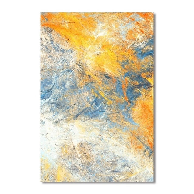 Dream Blue and Yellow Abstract Wall Art Canvas Paintings
