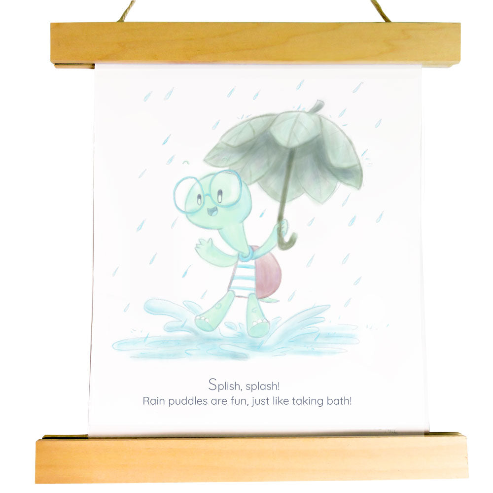 "Nursery Art Print - Abel Splash in Rain Puddle Bath - ""Curated by You"" Tortoise and Hare Art Collection"