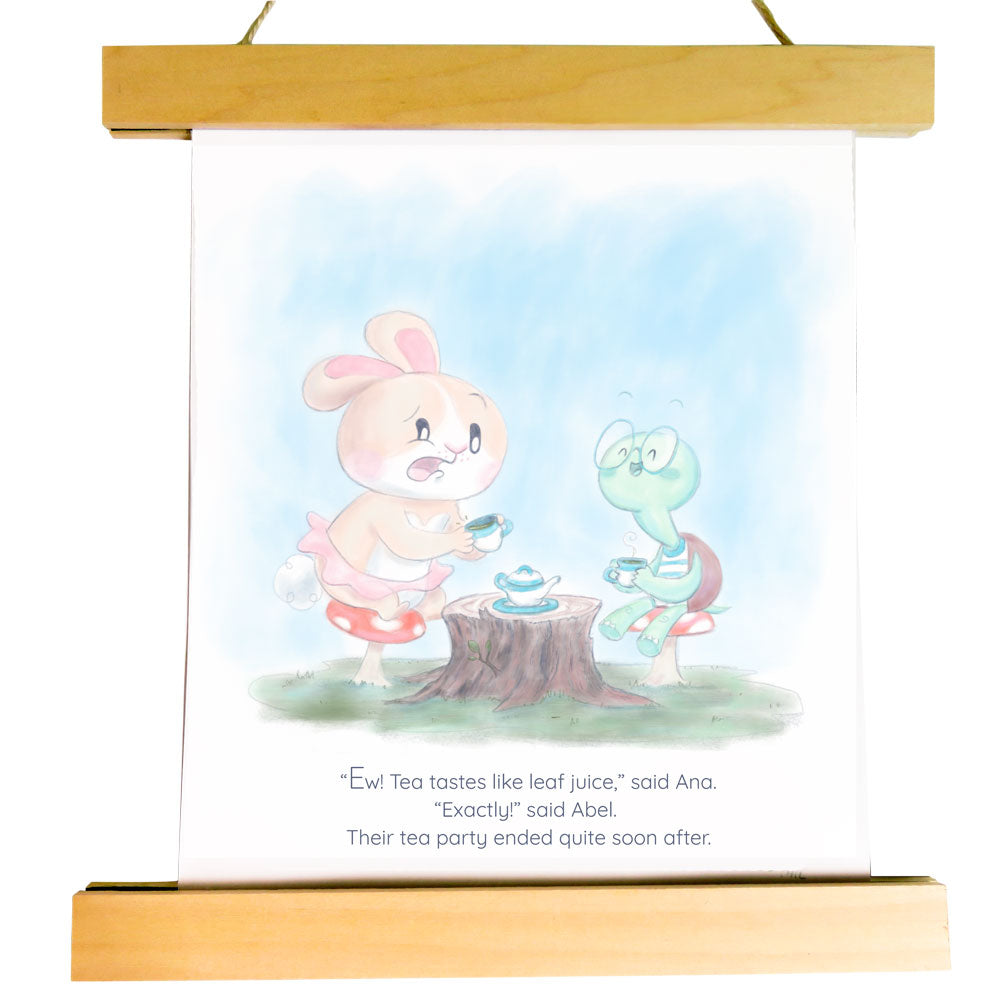 "Nursery Art Print - Tea Party with Abel and Ana - ""Curated by You"" Tortoise and Hare Art Collection"