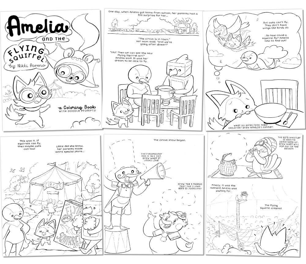 "[Print-Your-Own] ""Amelia and the Flying Squirrel"" Coloring Book - Fables & Fauna"