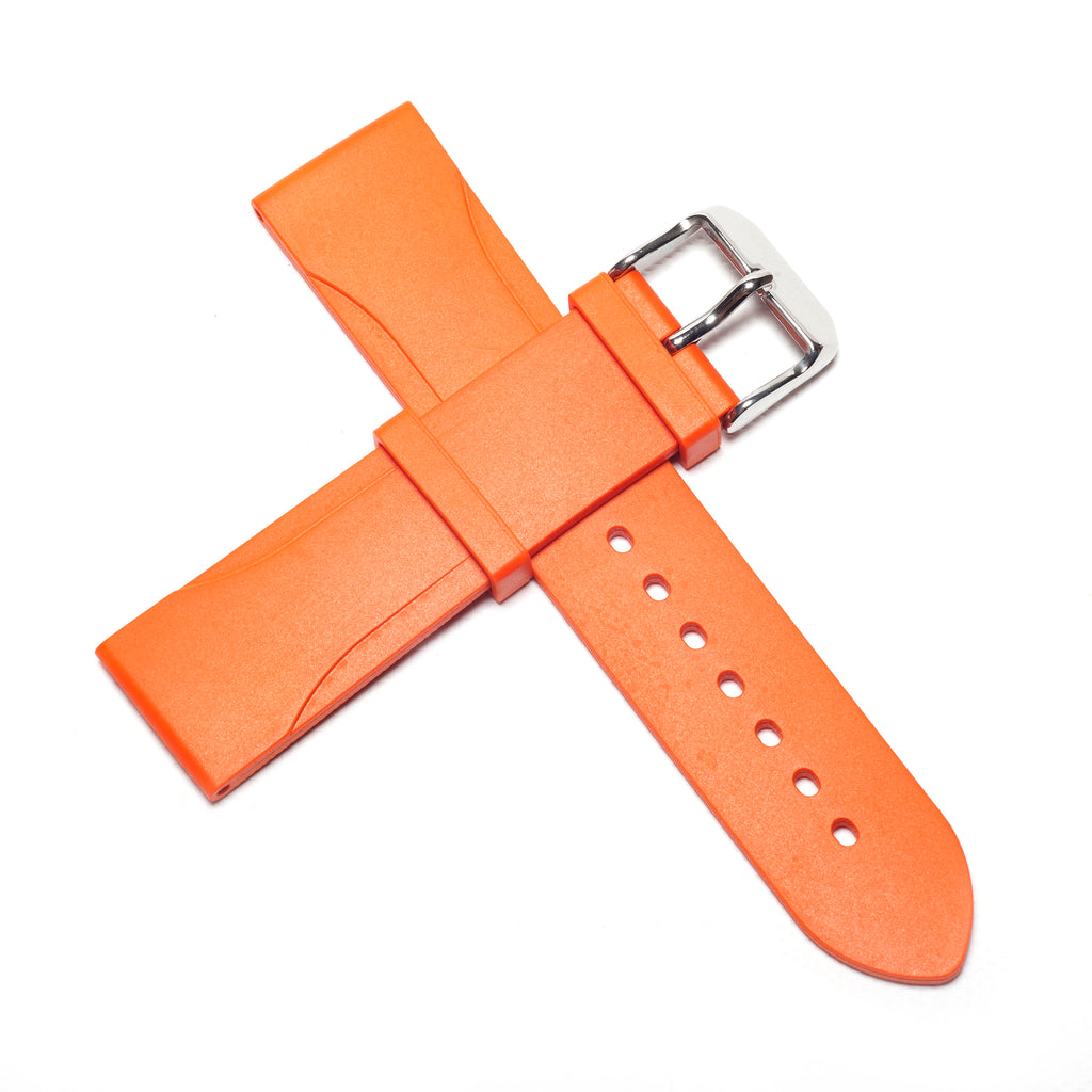 22mm Natural Rubber Strap - Orange