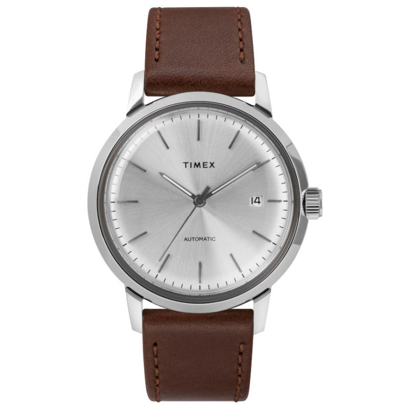 Marlin® Automatic 40mm Leather Strap Watch - White Dial (TW2T22700ZV)