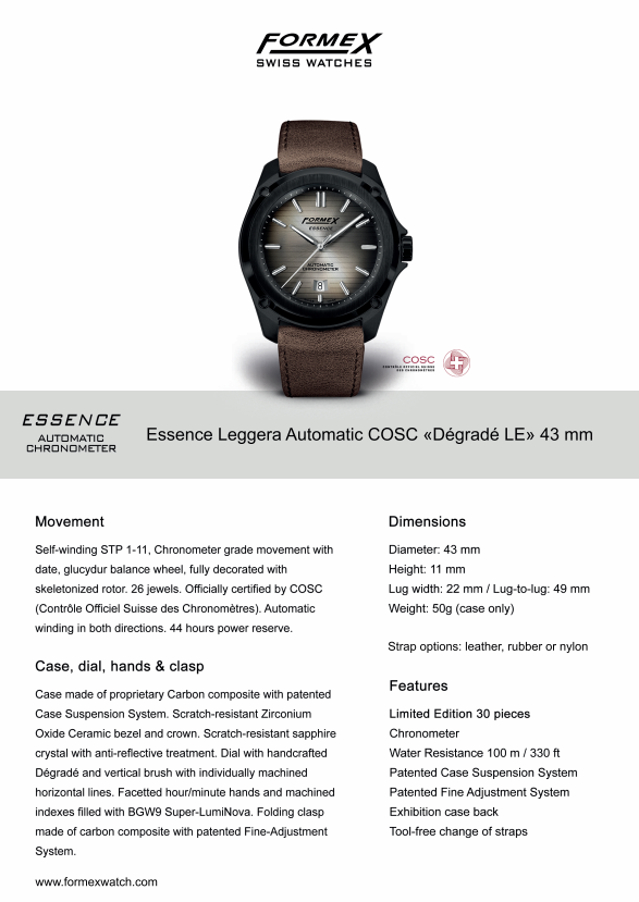 Essence Leggera - Automatic Chronometer Degrade Limited Edition