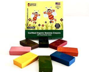 Certified Organic Beeswax Crayons with Food Grade Colors, Made in USA (Free Shipping)